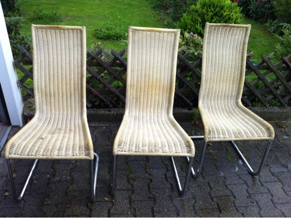 3 freischwinger chrom stuhl geflochten rattan. Black Bedroom Furniture Sets. Home Design Ideas