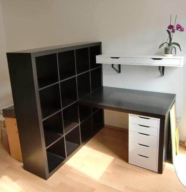 BastelArbeitsplatz komplett IKEA mit Tisch, Expedit  -> Ikea Wandregal Teller