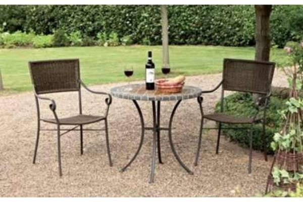 bistrotisch mit glasplatte und 2x bistrostuhl stapelstuhl poly rattan 3er set bistroset com. Black Bedroom Furniture Sets. Home Design Ideas