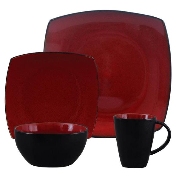 geschirr rot schwarz 4 personen 16 teile neu in. Black Bedroom Furniture Sets. Home Design Ideas