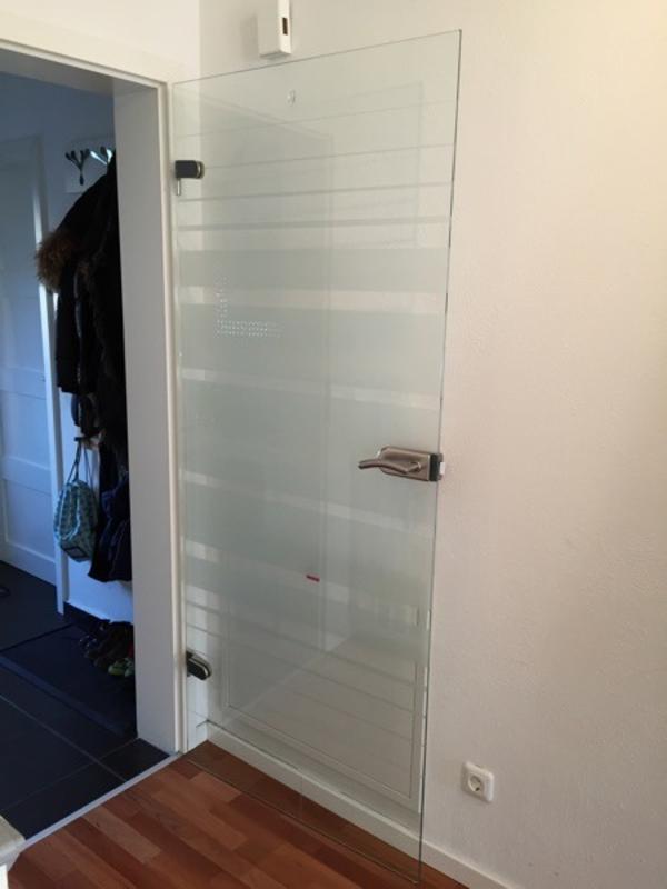 glast r mit sichtschutz inkl t rgriff beschl ge zu. Black Bedroom Furniture Sets. Home Design Ideas