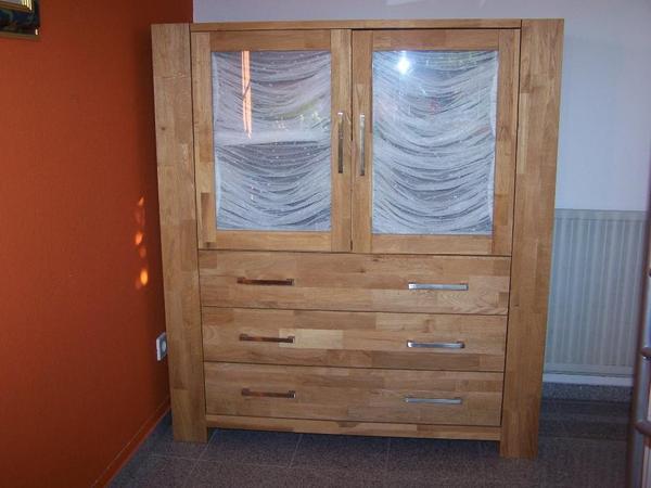 highboard herkules vitrine eiche massiv anrichte schrank. Black Bedroom Furniture Sets. Home Design Ideas