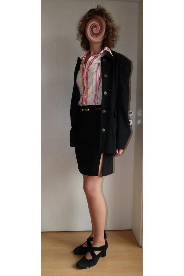 Hosenanzug kost m blazer hose rock schwarz veloursleder optik kaum getragen mit bluse 2 - Festliche blazer ...