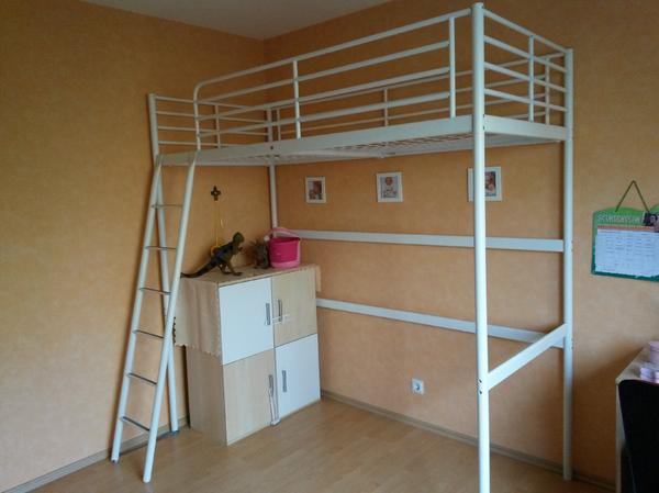 ikea hochbett tromsoe weiss sehr gut erhalten pictures. Black Bedroom Furniture Sets. Home Design Ideas