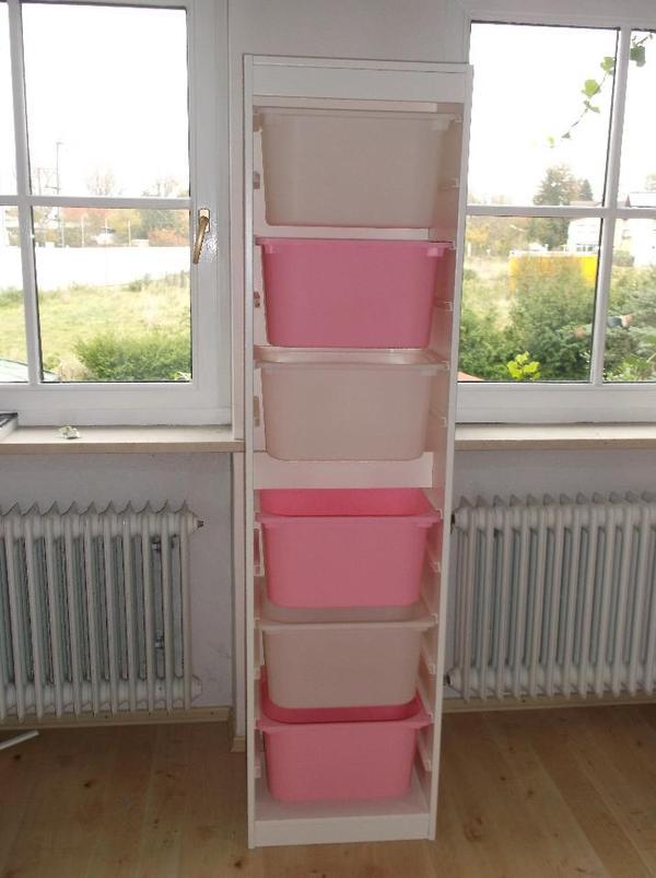 ikea wei es trofast regal inkl boxen rosa wei. Black Bedroom Furniture Sets. Home Design Ideas