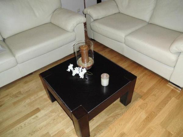 kare couchtisch mit edlem ledereinsatz in m nchen couchtische kaufen und verkaufen. Black Bedroom Furniture Sets. Home Design Ideas