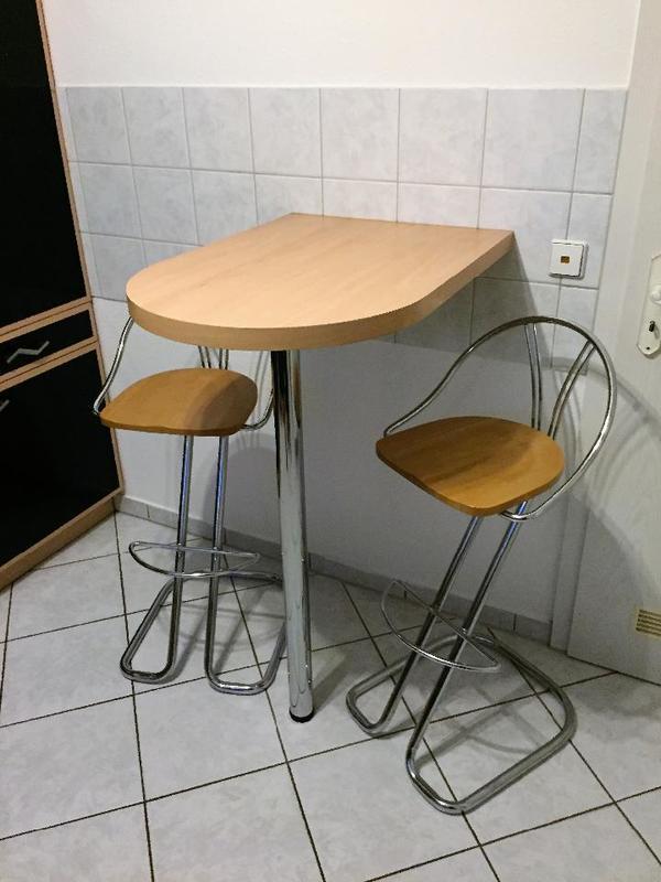 k chentheke bartresen wand bistro stehtisch mit 2 st hlen in gondelsheim speisezimmer. Black Bedroom Furniture Sets. Home Design Ideas