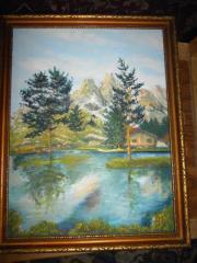 Landschaftsbild mit See,