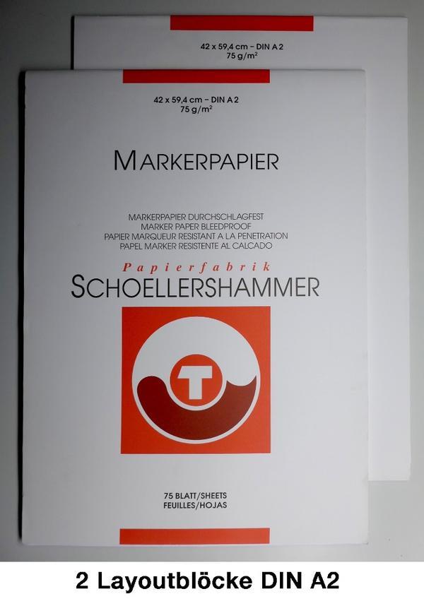 Layoutblöcke Markerpapier DIN A 2, 2 Stück gebraucht kaufen  61462 Königstein