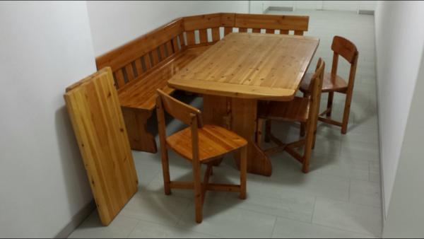 massive eckbank aus fichte mit tisch und drei st hlen in augsburg speisezimmer essecken. Black Bedroom Furniture Sets. Home Design Ideas