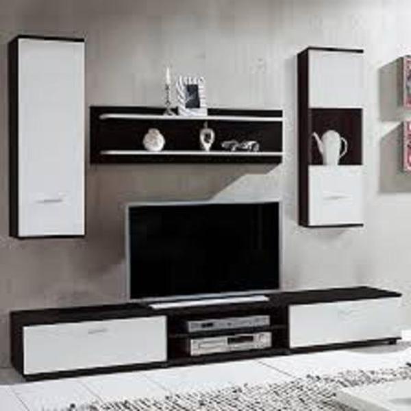 moderne wohnwand in dunkelbraun wei in starnberg bad einrichtung und ger te kaufen und. Black Bedroom Furniture Sets. Home Design Ideas