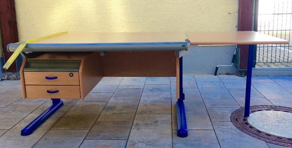 moll schreibtisch buche blau mit verl ngerung in grasbrunn kinder jugendzimmer kaufen und. Black Bedroom Furniture Sets. Home Design Ideas