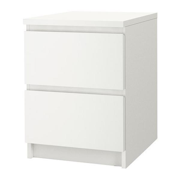 Nachttische Kommode mit 2 Schubladen Weiß IKEA MALM