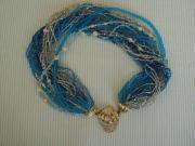 Perlenkette Modeschmuck, türkis -