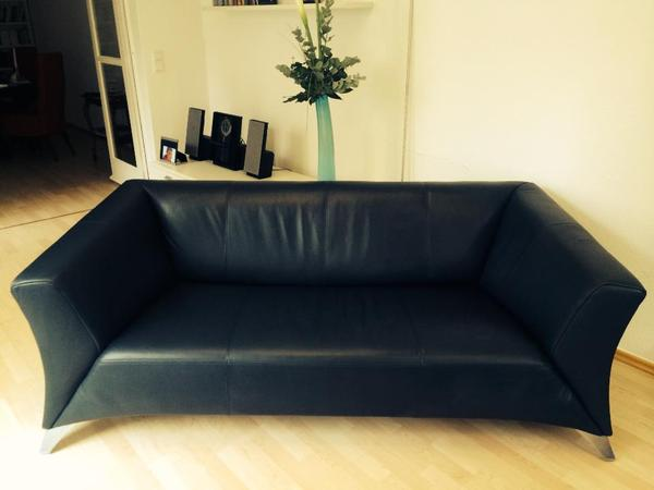 rolf benz sofa modell 322 leder dunkelblau in frankfurt. Black Bedroom Furniture Sets. Home Design Ideas