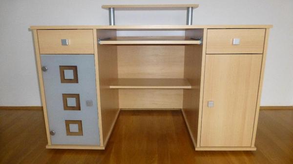 schreibtisch computerschreibtisch mit ausziehbarer. Black Bedroom Furniture Sets. Home Design Ideas