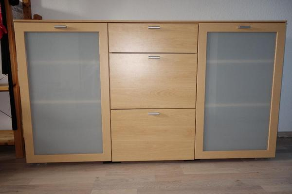 sideboard mit milchglast ren 3 gro en schubladen birke. Black Bedroom Furniture Sets. Home Design Ideas