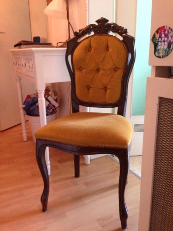 stuhl barock ocker gold antik verschn rkelt samt in m nchen polster sessel couch kaufen und. Black Bedroom Furniture Sets. Home Design Ideas