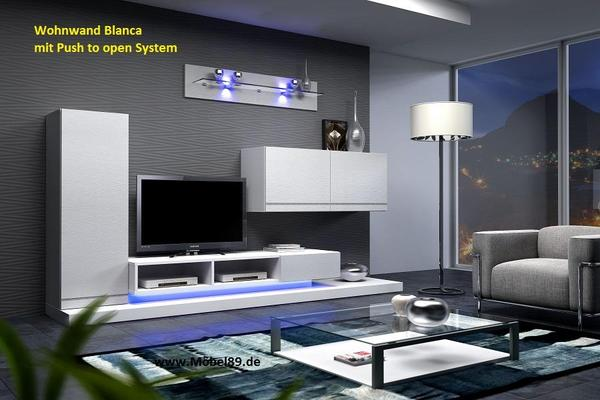 wohnwand blanca mit led beleuchtung wohnzimmerschrank schrankwand in eching wohnzimmerschr nke. Black Bedroom Furniture Sets. Home Design Ideas