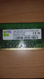 2x 1 GB Arbeitspeicher DDR