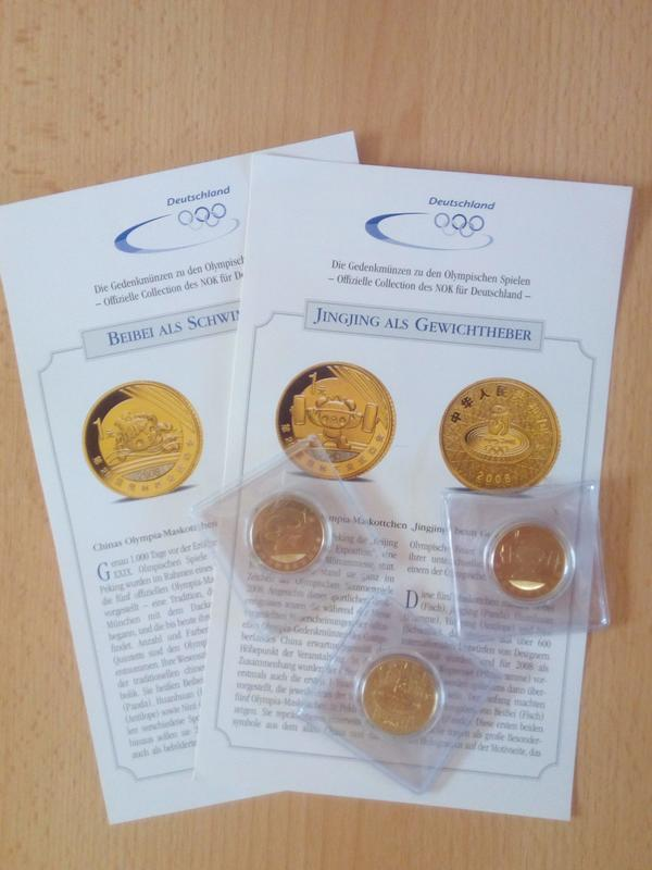 3 Gedenkmünzen Olympia Peking 2008 In Düsseldorf Münzen Kaufen Und