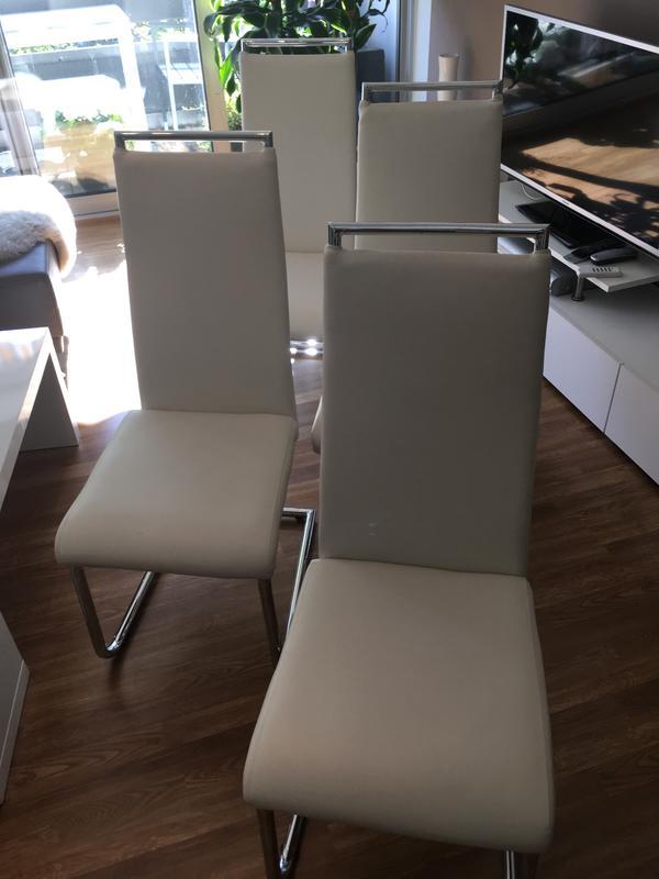 Toll 4 Esszimmerstühle Freischwinger, Kunstleder Weiß Gebraucht Kaufen 55252  Mainz Kastel