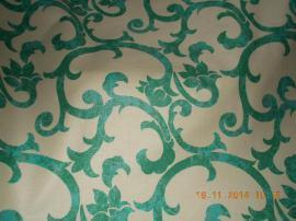 Handarbeit, Basteln - Baumwollstoff grüne Ornamente auf weiß