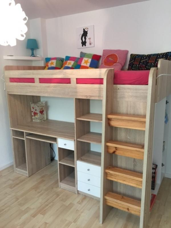 bega hochbett massiv kleiderschrank schreibtisch kinderbett eiche in neckarsulm kinder. Black Bedroom Furniture Sets. Home Design Ideas