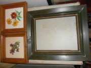 Blumenbild-Kachel mit Holzrahmen oder leerer