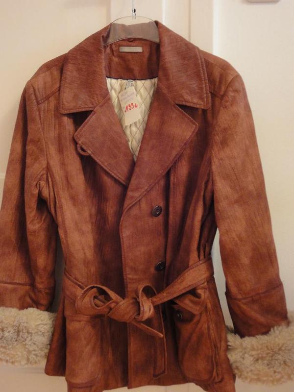 Damen Lederjacke mit einknöpfbarem Kuschelpelz, Gr. 46 (auch