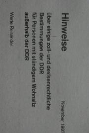 DDR-Zoll Formulare Flyer Dokumente
