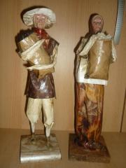 Deko 2 Figuren aus Pappmache