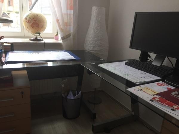 Großer Eck Winkel Schreibtisch Glas Büro Tisch Studium Arbeit PC ...