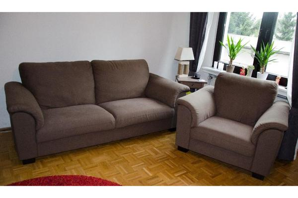 ikea tidafors 3er sofa und sessel in dansbo mittelbraun in karlsruhe polster sessel couch. Black Bedroom Furniture Sets. Home Design Ideas