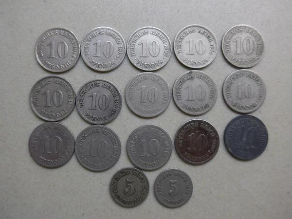 Kaiserreich mit seltener 10 Pfennig