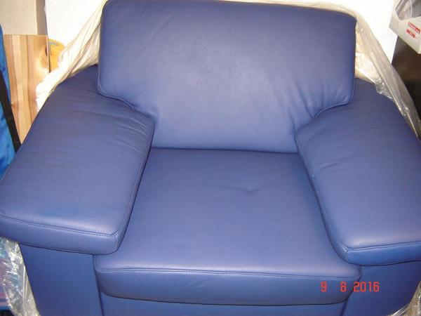Ledersessel Mittelblau Einzelstück