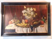 Oelbild Stilleben Jagdbild Früchte mit