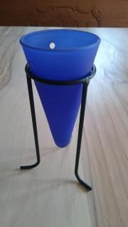 Pflanzgefäß mit Glaskegel in Blau