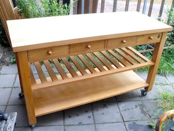 rolltisch, 150 cm x 60,5 cm, 4 schubladen, massiv holz, buche ... - Rolltisch Küche