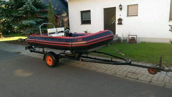 schlauchboot lomac 420 mit steuerstand und trailer in. Black Bedroom Furniture Sets. Home Design Ideas