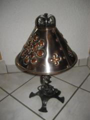 Schmiedeeiserne Lampe mit Kupferschirm Kupferlampe