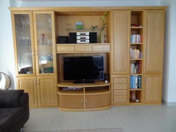 thielemeyer wohnwand buche teilmassiv neuwertig abzugeben ca 335cmx221cmx40 60cm in. Black Bedroom Furniture Sets. Home Design Ideas