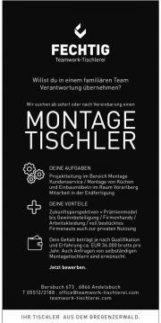 TISCHLEREIBETRIEB SUCHT MONTAGETISCHLER